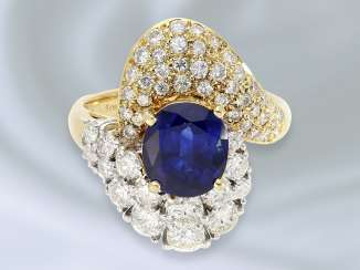 Ring: very beautiful and elaborately crafted cocktail ring with fine sapphire/diamond trimming, approx. 4ct