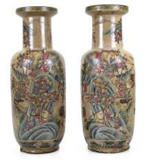 Pair Of Floor Vases With Figures-