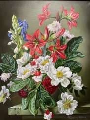 """Still life with white and red flowers""."
