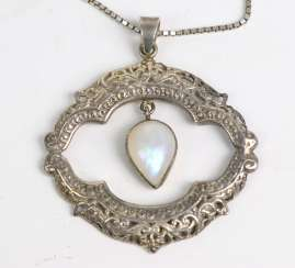 Moon-stone pendant on chain