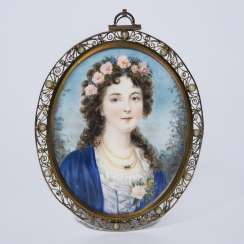 Portrait miniature: girl with wreath of flowers