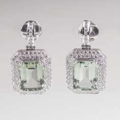 Pair of drop earrings with Prasiolite and brilliant-trim
