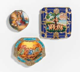 3 powder compacts with enamel decoration
