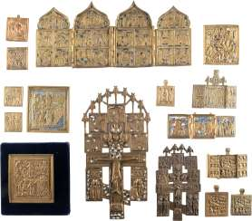 A SIGNED ICON WITH THE MANDYLION, TWO CRUCIFIXES, THREE TRIPTYCHA, A TETRAPTYCHON AND NINE BRONZE ICONS WITH FEAST DAYS OF THE ORTHODOX CHURCH