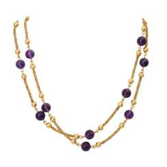 Long necklace with amethyst balls
