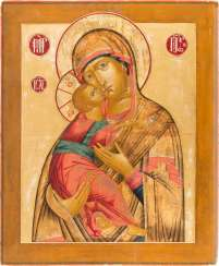 MONUMENTAL AND FINE ICON OF THE MOTHER OF GOD OF VLADIMIR (VLADIMIRSKAYA)