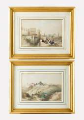 David Roberts(1796-1864)-Colour etchings, Two first state views from Jerusalem, in passepartout framed, signed in the stone