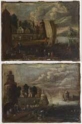 Landscape painter 18th century: Two landscapes with coastal cities