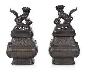 Pair Of Incense Burners, Bronze