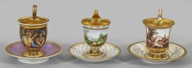 Three Biedermeier View Of Cups