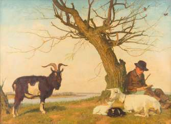 UNDER A TREE RESTING SHEPHERD WITH GOAT