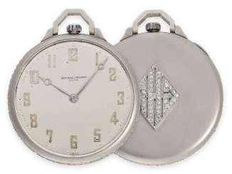Pocket watch: rarity, super-slim Vacheron & Constantin Art Deco Frackuhr in the Breguet style, platinum set with diamonds, No. 408157, delivered in 1929 in the USA, with the master excerpt from the book