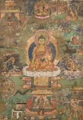 Thangka with presentation of guru Padmasambhava