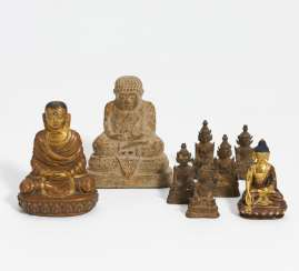 Eight small Buddhitic figures