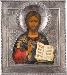 ICON WITH CHRIST PANTOCRATOR WITH SILVER RIZA