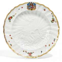 Dinner plate from the Swan service for count Heinrich von Brühl