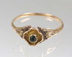 antique emerald ring yellow gold 585