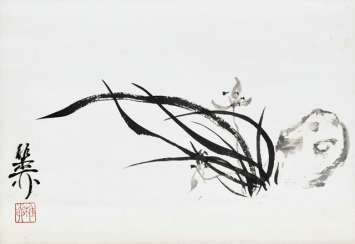 Xie Zhiliu (1910-1997): orchids, ink and colors on paper, hanging scroll mounted
