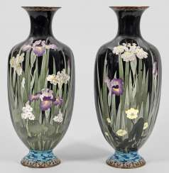 Pair of large Cloisonné baluster vases with iris flowers