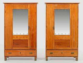 Rare Pair of art Nouveau wardrobes of Portois & Fix