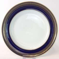 Round-plate / side dish bowl: Meissen porcelain, T-Smooth, Flag-cobalt blue, gold edge, around 1900, very good.