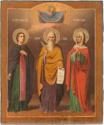 ICON WITH THE SAINT JOHN, ELIAS, AND ANNA