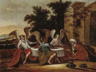 Abraham entertained the three angels. The Netherlands 17. Century