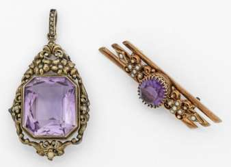 Belle Epoque brooch and pendant with amethyst trim