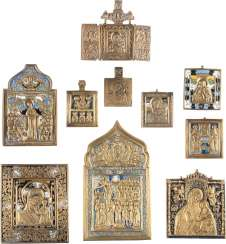 ICON DATED, EIGHT BRONZE ICONS AND TRIPTYCH WITH MOTHER OF GOD-REPRESENTATIONS
