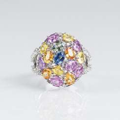 Gemstone Ring with colored sapphires and diamonds