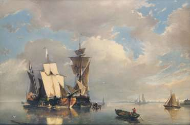 A warship and a cargo ship at anchor. Johannes Hermann Barend Koekkoek