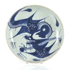 Blue-and-white decorated dragon porcelain plate
