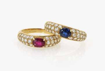Two rings with diamonds, ruby and sapphire