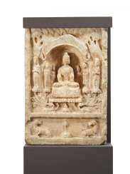 STELE WITH THE BUDDHA, BODHISATTVA AND MONKS
