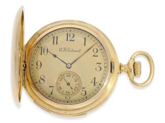 Pocket watch: gold savonnette of exquisite quality, minute repeater, chronometer maker Rodanet, Paris, No. 15351, caliber, presumably, Audemars Piguet, CA. 1910