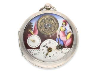 Pocket watch: large attractive Spindeluhr with enamel-painting, the date and visible balance wheel, a revolution motif, France, around 1790