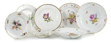 7 Plates, Mostly Meissen