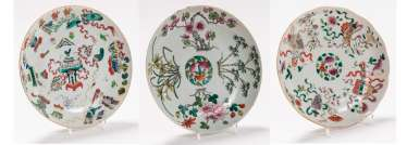THREE VERY ATTRACTIVE COLOUR PAINTED PLATES