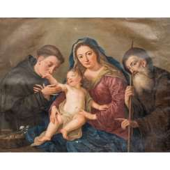 "Italian painter of the FLORENTINE SCHOOL 17./18. Century, ""Holy Family with Saint Anthony"","