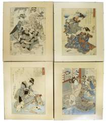 Four color woodcuts with depictions of 'bijin'