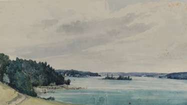Anton Doll, attributed to, On the shores of Lake Starnberg - View of the Rose Island (Garatshausen)