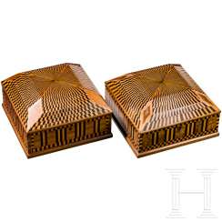 A pair of Art Deco wooden boxes with marquetry decor, Vienna, around 1910/20