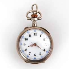 Silver ladies pocket watch with blue Ema