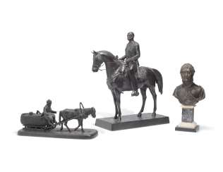 A CAST-IRON MODEL OF NICHOLAS I, A CAST-IRON MODEL OF A HORSEDRAWN SLED, A BRONZE BUST OF ALEXANDER I