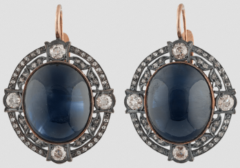Earrings with large sapphires.