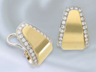 Earrings: high quality, handmade Bicolor/brilliant-goldsmith earrings, fine crafted from 18K Gold, approx 0.75 ct