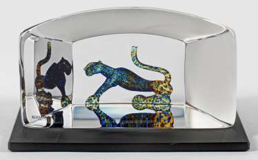 Glass object with panther