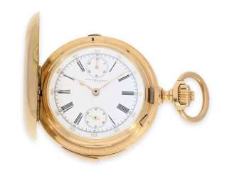 Pocket watch: very fine, heavy, highly complicated rose gold Savonnette, Anchor chronometer with repeater and Chronograph with Subdials, Haas Neveux & Cie. Geneve, No. 15765, CA. 1890