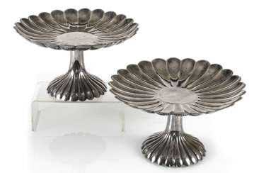 Two of the chrysanthemum-shaped Tazzen silver