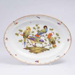 Large oval platter with parrots